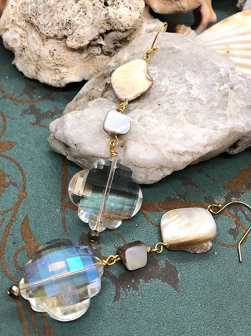 Crystals Galore Mother of Pearl in Ivory earrings
