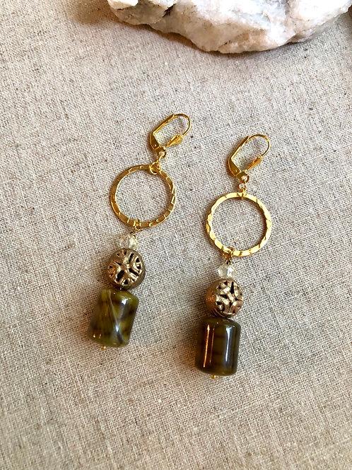 Banded Barrel Agate earrings