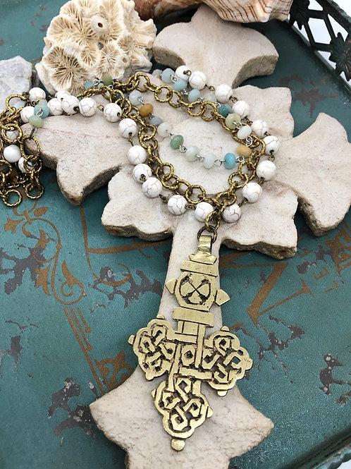 Ethiopian Cross and Gemstone necklace