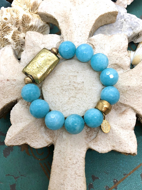 Blues and Brass bracelet