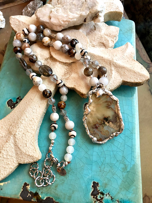 Agate and Topaz soldered necklace