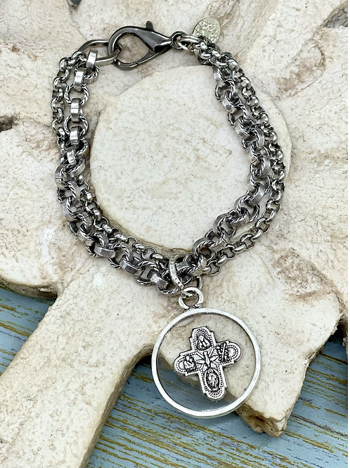 Resin Cross silver bracelet