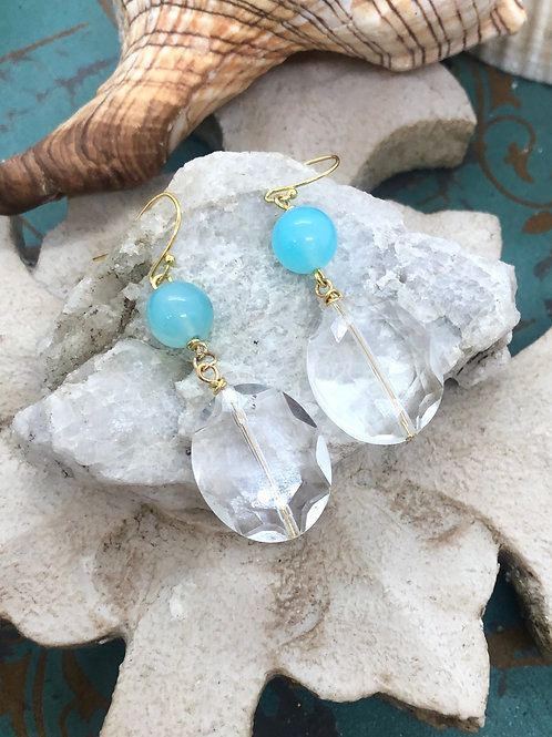 Crystals Galore Jade Turquoise earrings