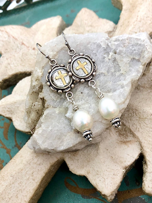 Cross and Pearl Dangles