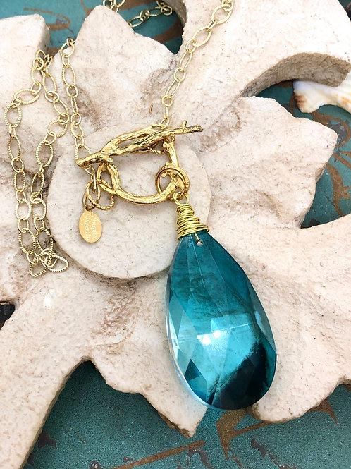 Crystals Galore Blue Teardrops necklace