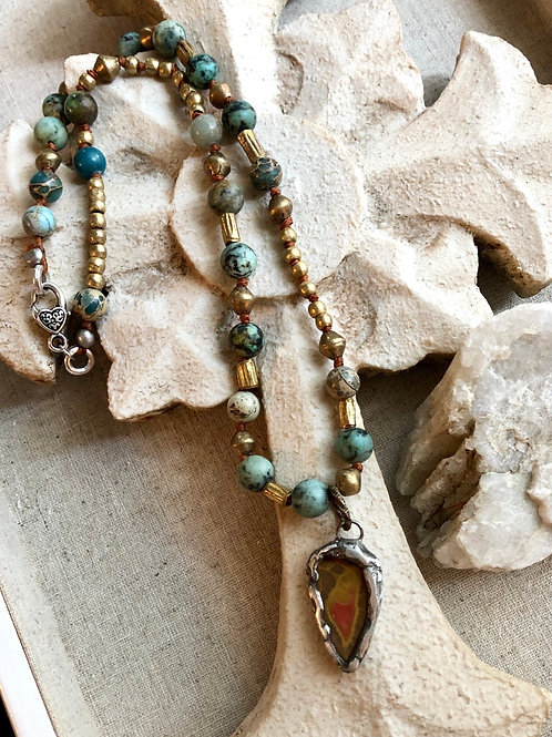 African Turquoise  and Jasper necklace