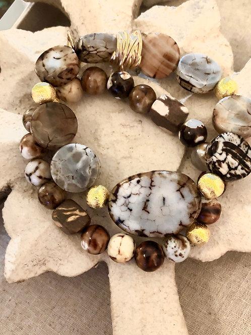Australian Jasper and gold Bracelets