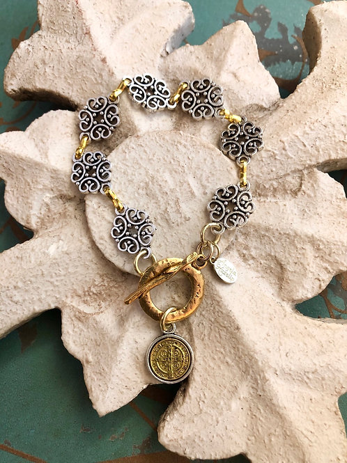 Filigree Two Toned St. Benedict Bracelet