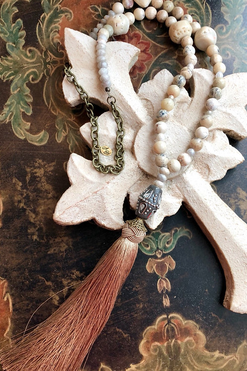 White Coral and Agate necklace