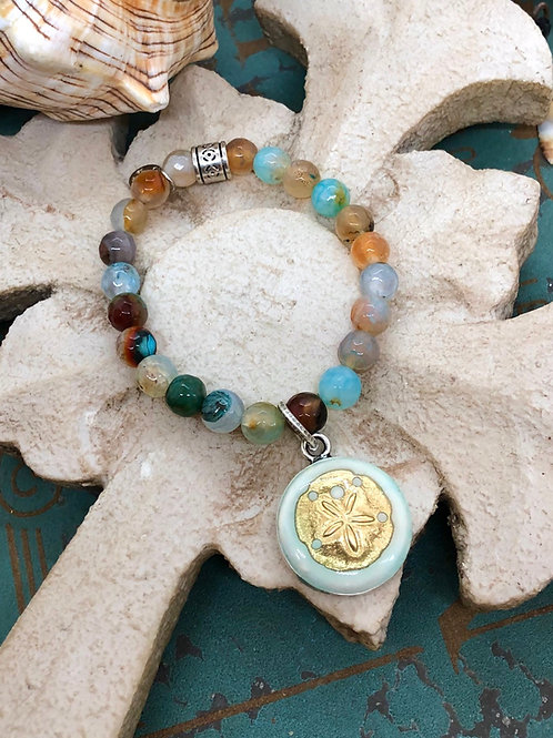 Sand dollar and Agate bracelet