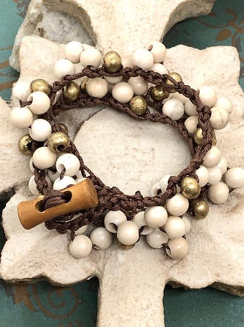 Boho Style Riverstone bracelet & necklace
