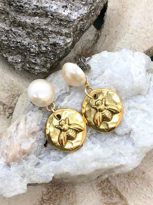 Bonton Farms Line: Bumbles and Pearls earrings.