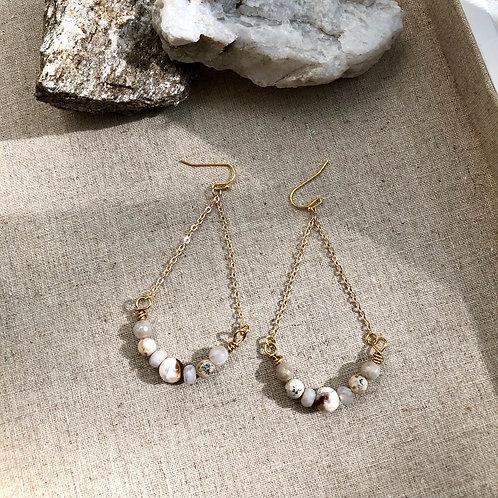 Agate chain earrings