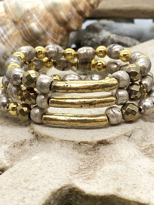 Two Toned Gold bar bracelet set