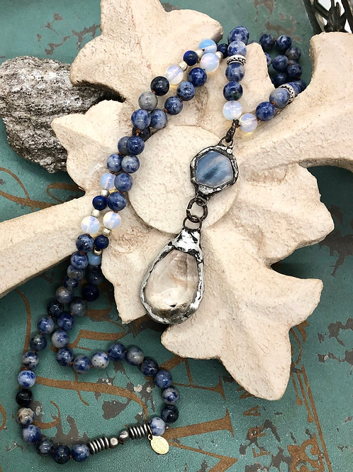 Crystal and Sodalite necklace