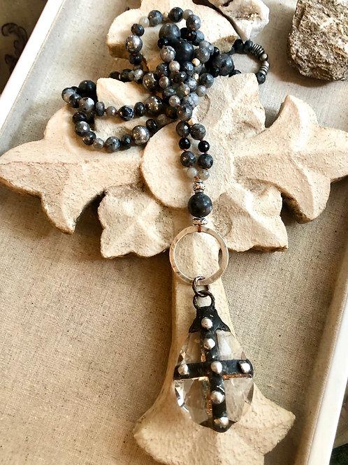 Soldered Crystal and Gemstones necklace