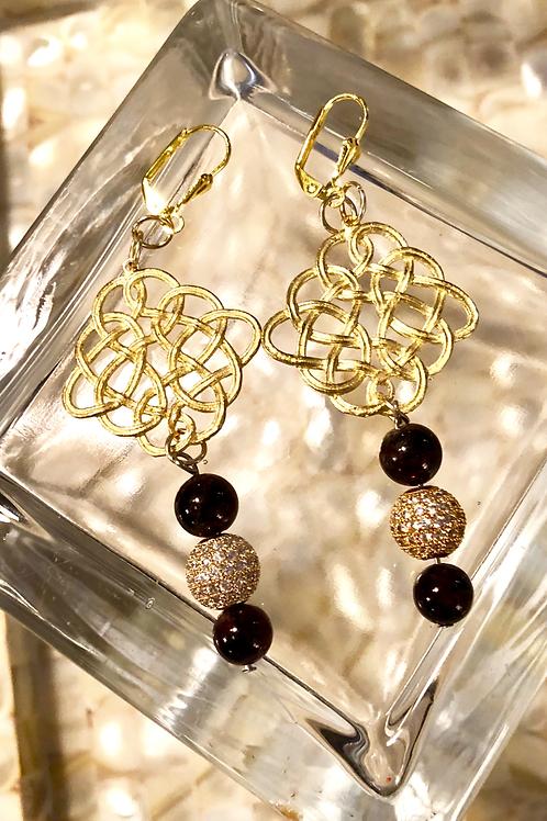 Pave Garnet & Gold Earrings