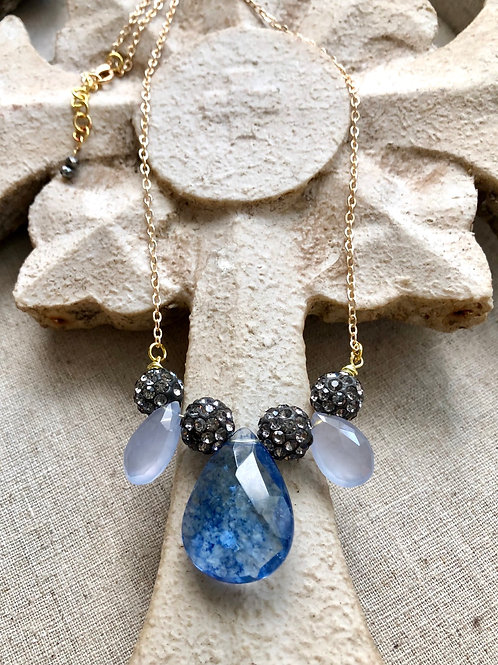 The Sofia Collection: Blue Quartz and glitter necklace