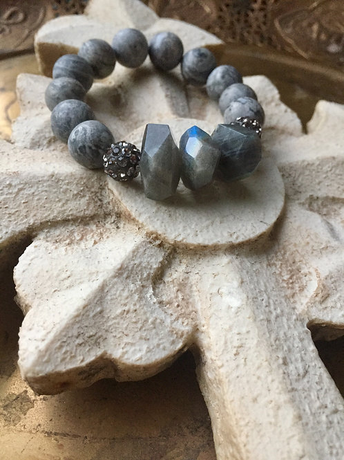 Gray Picture Jasper and Agate bracelet