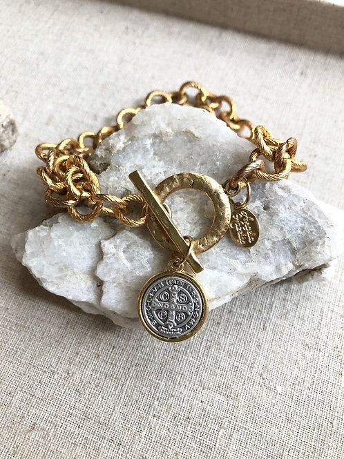 Chain Link Gold St Benedict Bracelet