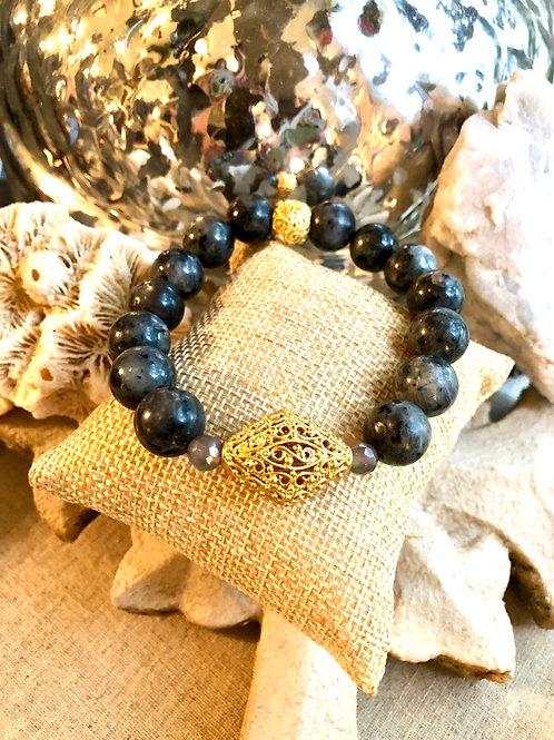 Larvikite and Gold bracelet