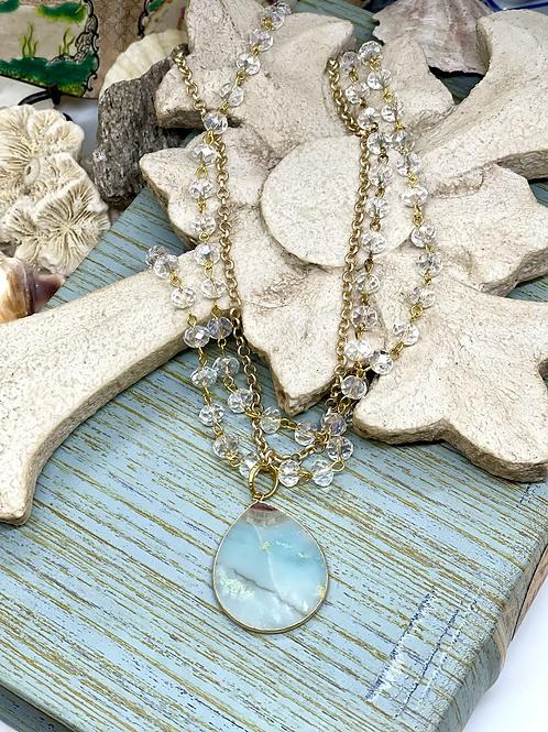Teardrop Blues & Crystals Necklace
