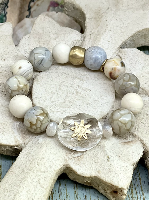 Bonton Farms Line:  Crystal Flower Bracelet