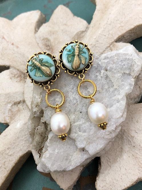 Bonton Farms Line: Bumbles & Pearls earrings