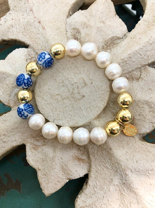 Chinoiserie & Pearls bracelet