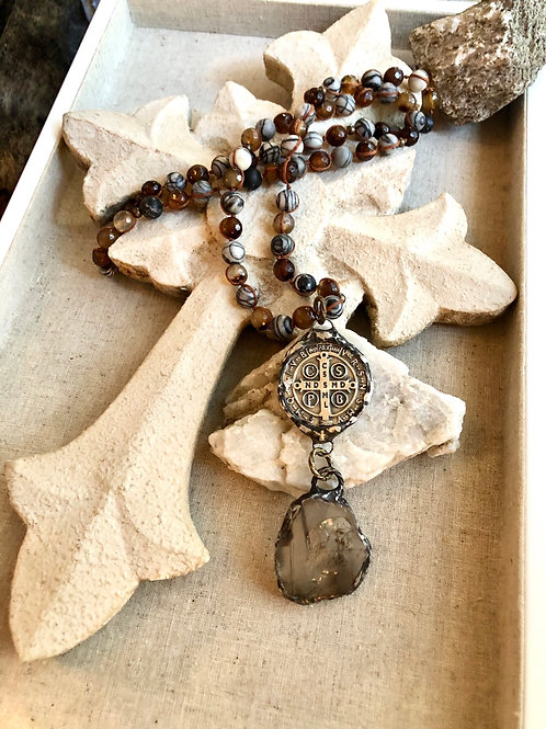 Quartz & St Benedict necklace