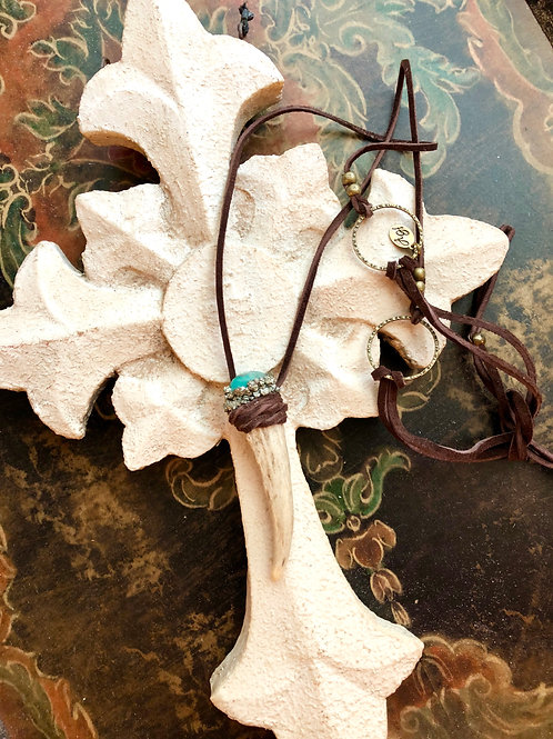 Shed Horn, Leather and Turquoise Necklace