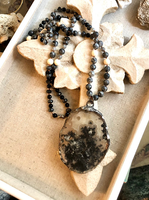 Black Moss Agate Necklace