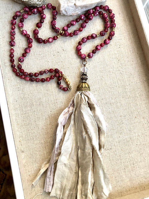 Maroon Jade Silk Tassel Necklace