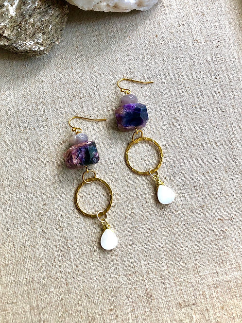 Amethyst and Shell drop earrings