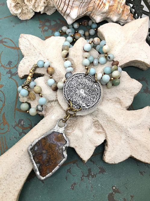 Moss Agate and Carvings necklace