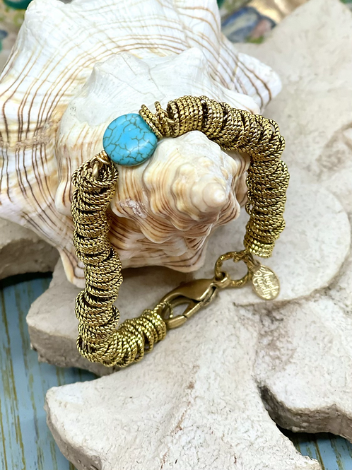 Golden Rings and Turquoise bracelet