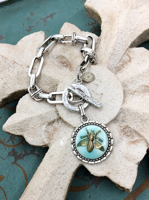 Bonton Farms Line: Silver Honey Bee bracelet