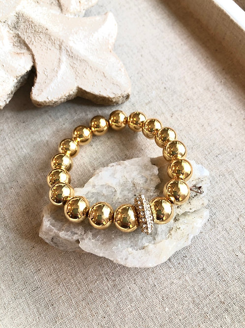 Gold beads &Crystal bracelet