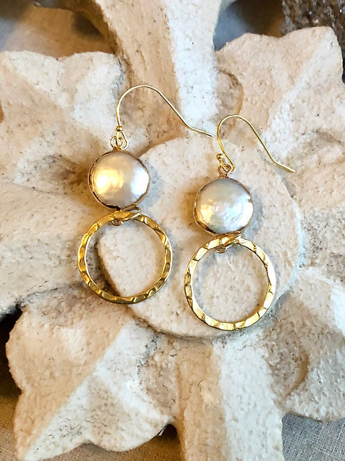 Coin Pearl and gold earring