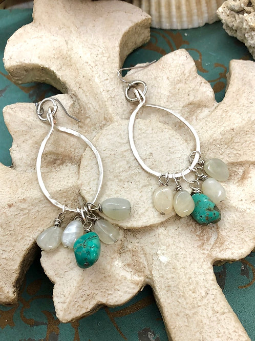 Moonstone and Turquoise Dangles