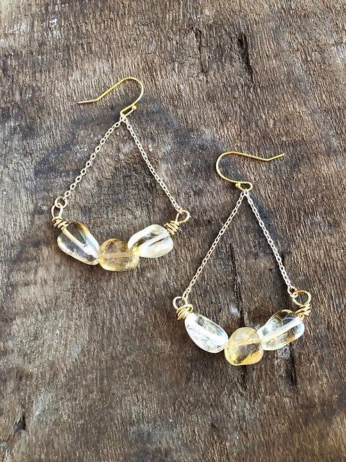 Citrine & Chain earrings