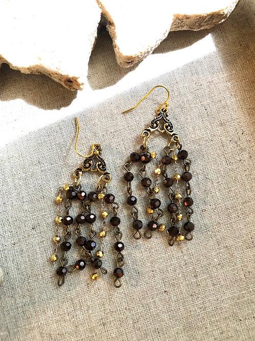 Gold toned beaded fringe earrings