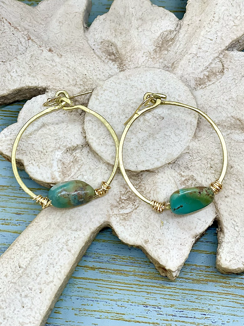 African Turquoise Hammered Hoops
