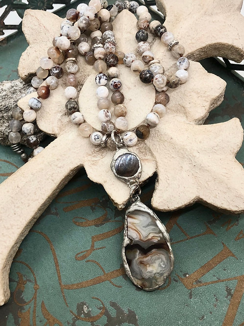 Crazy Lace and Banded Agate necklace