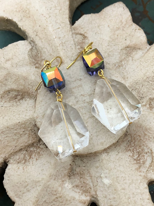 Crystals Galore Iridescent Angles earrings