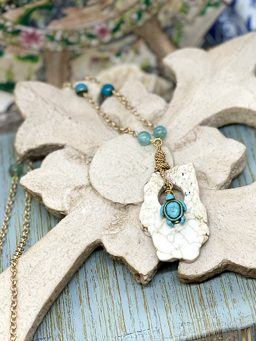 Turquoise Turtle Whimsy Necklace