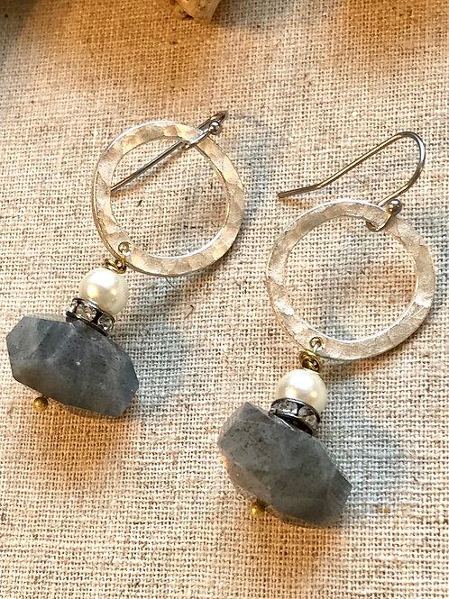 Labradorite and pearl silver dangles