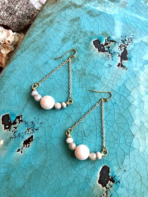 River Stone & Fancy Agate earrings
