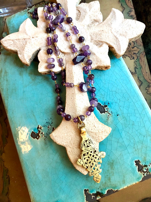 Amethyst and Ethiopian Cross necklace