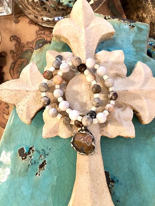 Moss Agate & River Stone bracelet set